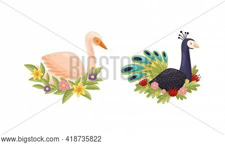 Perching Bird Sitting On Floral Nest With Blossoming Flowers And Leaves Vector Set