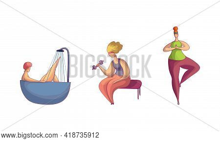 Woman Bathing In Bathtub, Standing In Yoga Pose And Lifting Dumbbell Vector Set