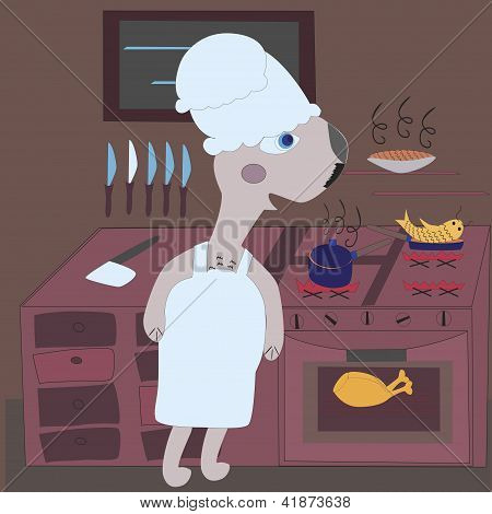 illustration of gopher - chef on the kitchen poster