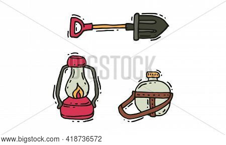 Camping And Expedition Equipment With Flashlight Or Lantern And Shovel Vector Set
