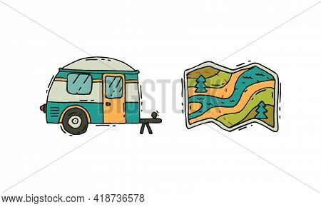 Camping And Expedition Equipment With Camper Van And Map Vector Set