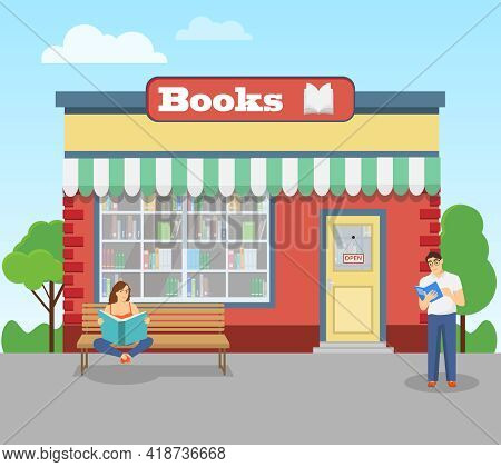 Bookstore, Bookstore Facade And People Reading Books Nearby. Vector Illustration. Vector.