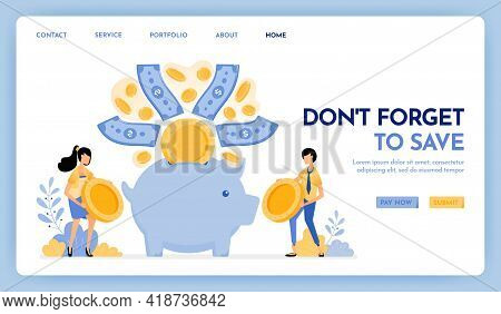 Illustration Of Don't Forget To Save. People Hold Coins To Put In Savings, Financial And Investment.