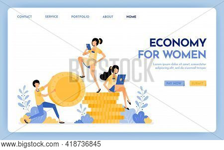 Illustration Of Economy For Women. Men Hold Money And Women Sit On Money For Anti-patriarchy Economy