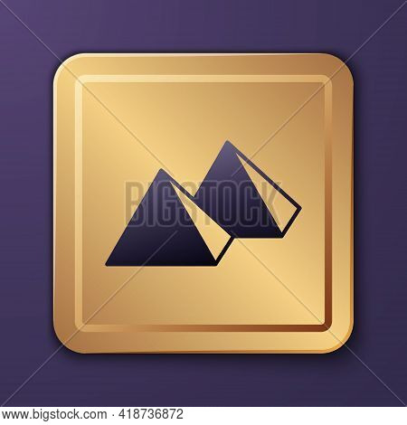 Purple Egypt Pyramids Icon Isolated On Purple Background. Symbol Of Ancient Egypt. Gold Square Butto