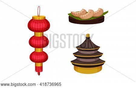 Chinese Culture Symbols With Paper Lantern And Pagoda Temple Vector Set