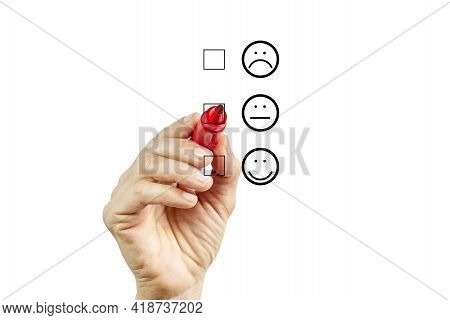 Woman Hand Putting Check Mark With Red Marker On Half Customer Service Evaluation Form. Evaluation C