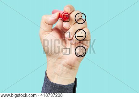 Man Hand Putting Check Mark With Red Marker On Poor Customer Service Evaluation Form. Evaluation Con