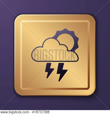 Purple Storm Icon Isolated On Purple Background. Cloud With Lightning And Sun Sign. Weather Icon Of