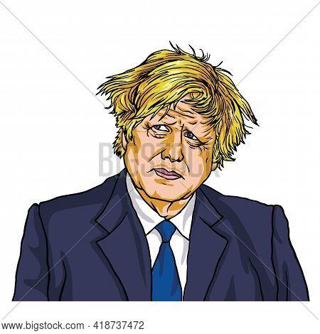 Boris Johnson, Uk Prime Minister, Cartoon Caricature Vector Illustration Drawing. 10 Downing Street,