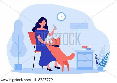 Cartoon Woman Playing With Dog At Home. Flat Vector Illustration. Female Character Spending Time Wit