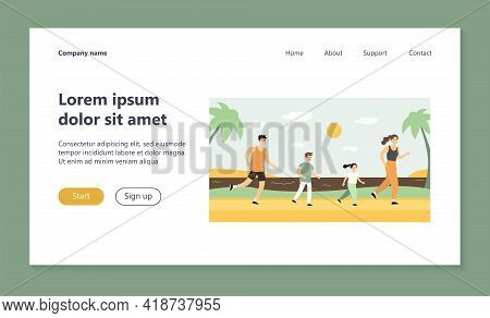 Active Family Running On Beach. Parents, Kids, Jogging By Sea Flat Vector Illustration. Sport, Famil