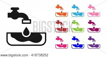 Black Water Problem Icon Isolated On White Background. Poor Countries Environmental Public Health Re
