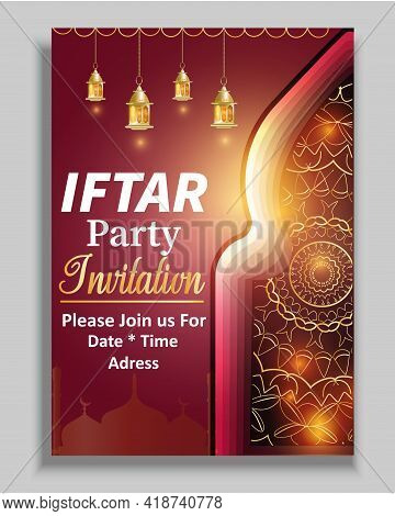 Ramadan Flyer For Iftar Party And Seminar.vector Design Template For Greetings Card, Poster, Banner,