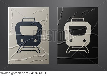 White Train Icon Isolated On Crumpled Paper Background. Public Transportation Symbol. Subway Train T