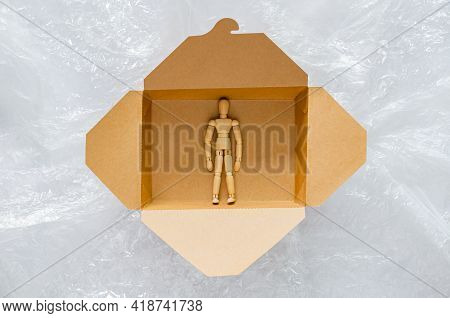 Wooden Model Stay Safe Inside Disposable, Compostable Paper Food Box That Surrounding With Plastic B