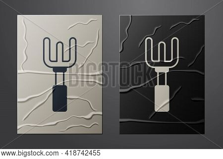 White Garden Rake Icon Isolated On Crumpled Paper Background. Tool For Horticulture, Agriculture, Fa