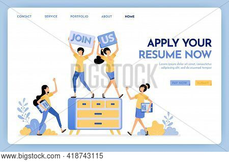 Illustration Of Join Us Hiring People. People Applying For Jobs By Submitting Resumes. We Are Hiring