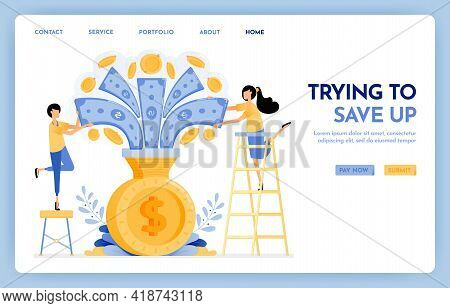 Illustration Of People Are Trying To Saving. Money Flew Into Coin Saving. People Hold Money To Save