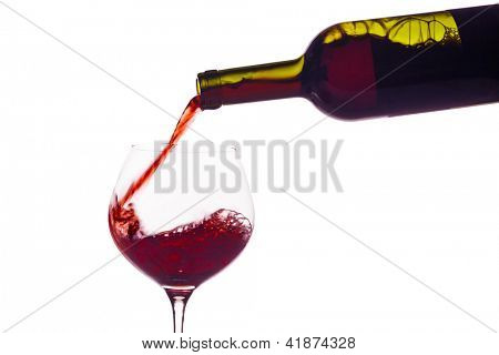 in a glass of red wine is lively empties. red wine in a wine glass