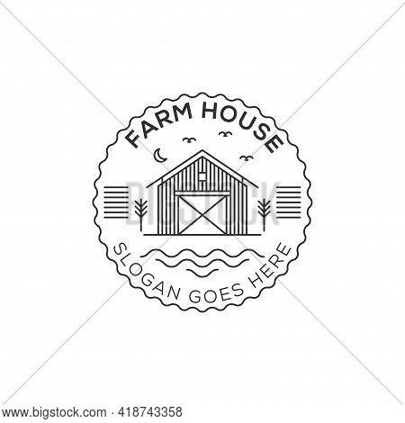 Farm House Logo Design Illustration. Landscape Vector For Nature Farm Products. Outline Logo Icon Ve