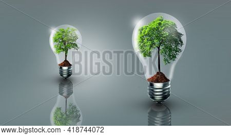 Tree With Soil Growing On Light Bulb. Think Green, Power Saving, Innovation, Green Ecology Energy, A