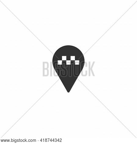 Map Pin With Taxi Car Sign. Taxi Service Vector Icon. Taxi Map Pointer, Taxi Signs. Vector Illustrat