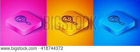 Isometric Line Fried Eggs On Frying Pan Icon Isolated On Pink And Orange, Blue Background. Fry Or Ro