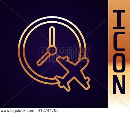 Gold Line Clock With Airplane Icon Isolated On Black Background. Designation Of Time Before Departur