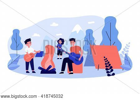 Cartoon Children Playing Guitar In Summer Camp. Flat Vector Illustration. Children Playing Music Out