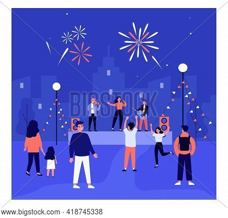 Open Air Music Concert Flat Vector Illustration. Cartoon People Dancing To Music And Watching Live C