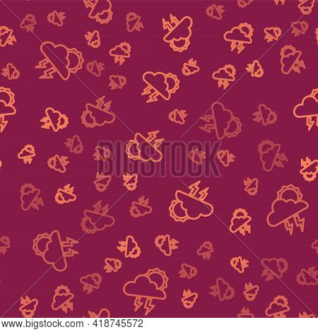 Brown Line Storm Icon Isolated Seamless Pattern On Red Background. Cloud With Lightning And Sun Sign