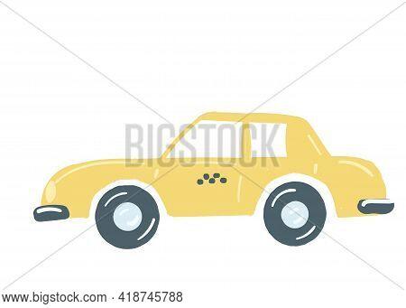 Yellow Taxi Car. Isolated Sedan Car. Passenger Taxi With A Trunk. Hand Drawn Cartoon Style, Vector I