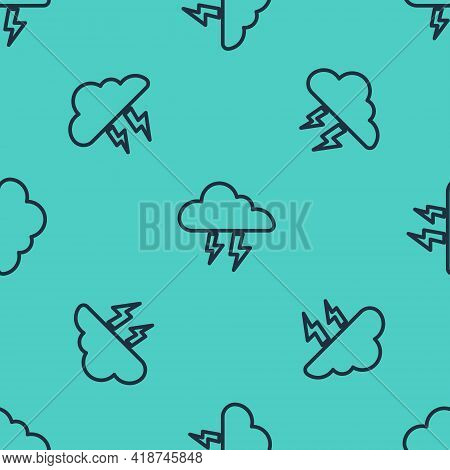 Black Line Storm Icon Isolated Seamless Pattern On Green Background. Cloud And Lightning Sign. Weath