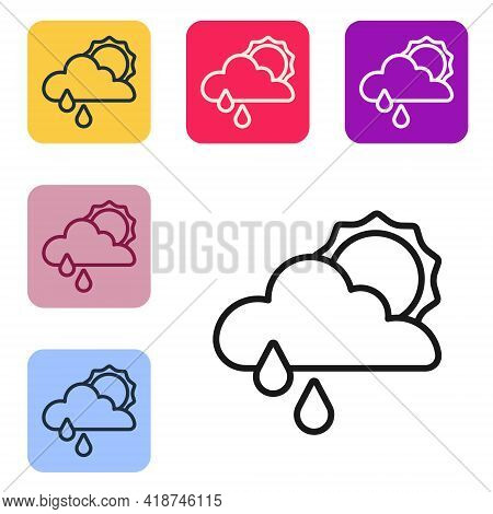 Black Line Cloud With Rain And Sun Icon Isolated On White Background. Rain Cloud Precipitation With