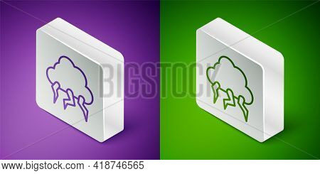 Isometric Line Storm Icon Isolated On Purple And Green Background. Cloud And Lightning Sign. Weather