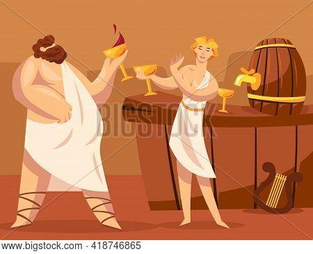 Ancient Greek Gods Or Greeks Drinking Wine Together. Cartoon Vector Illustration. God Of Viticulture
