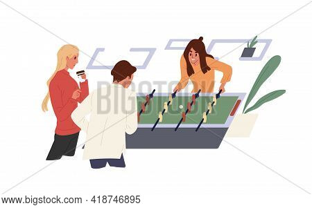 Happy People Playing Game In Office. Colleagues Spending Time Together At Foosball Or Soccer Table.