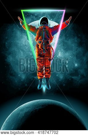 Dancing Astronaut On The Background Of The Moon And Space. Vector Illustration