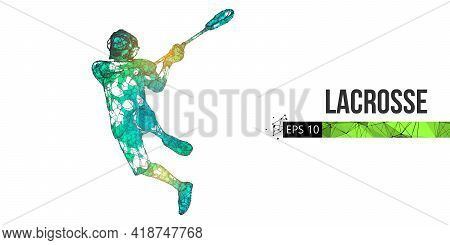 Abstract Silhouette Of A Wireframe Lacrosse Player From Particles On The White Background. Convenien