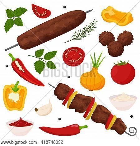 Shish Kebab, Lula Kebab, Meatballs. Set Of Grilled Meat Dishes On The Coals. Vegetables, Sauce, Spic
