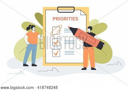 Tiny People Prioritizing Important Tasks Together. Workers Choosing Agenda, Making List Flat Vector