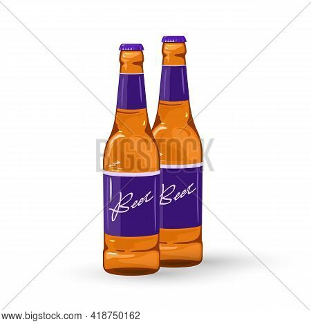 Cartoon Chilled Alcoholic Drink For Big Company, Night Clubs Menu. Vector Cheers, Beer Label Over Bo