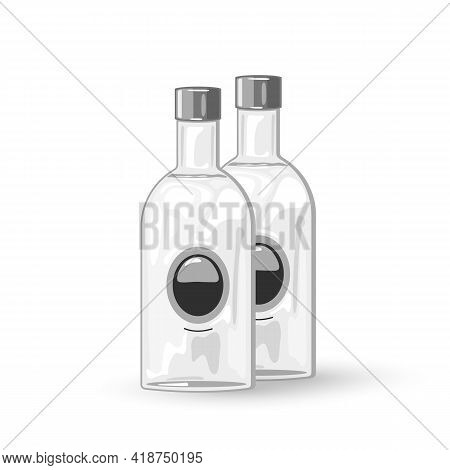 Cartoon Lets Drink, Strong Russian Beverage, Component For Cocktails. Vector Alcoholic Drink For Nig