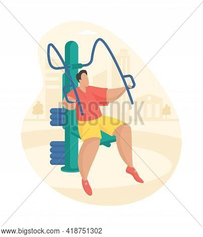 Outdoor Fitness Equipment Flat Illustration. Male Cartoon Character Doing Workout Exercises Using Pu