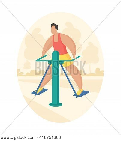 Outdoor Fitness Equipment Flat Illustration. Male Cartoon Character Doing Workout Exercises Using Ou