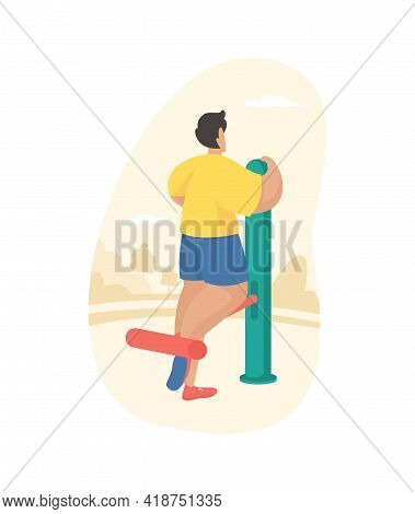 Outdoor Fitness Equipment Flat Illustration. Male Cartoon Character Doing Workout Exercise Using Sel