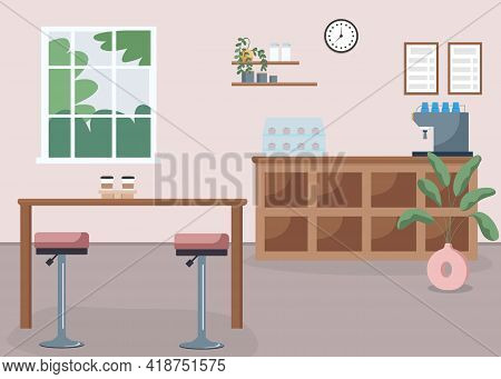 Coffee Shop Flat Color Vector Illustration. Espresso Bar. Small Business. Restaurant With No People.