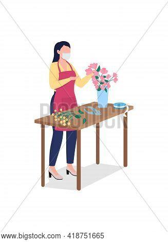 Female Florist In Face Mask Flat Color Vector Faceless Character. Floral Workshop. Flower Arrangemen