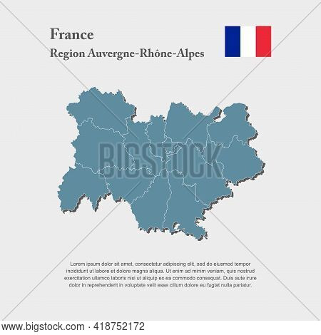 Map Region Country France, Auvergne French Alpes